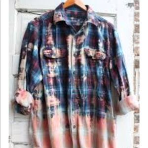 Oversized acid washed button down flannel